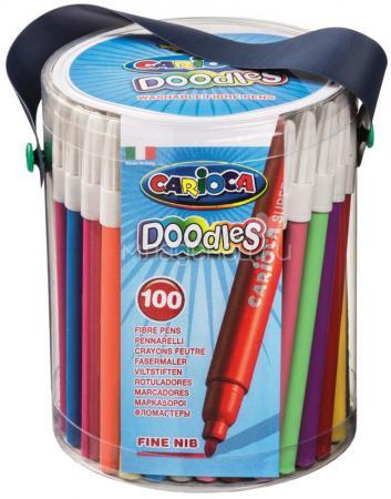Набор фломастеров CARIOCA DOODLES, 100 шт., в пластиковом ведерке на лямке carioca набор смываемых восковых карандашей baby 8 цветов