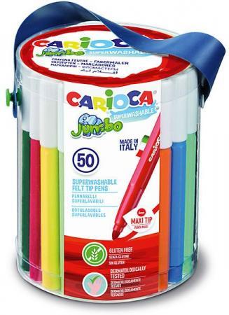 Набор фломастеров CARIOCA JUMBO, 50 шт., в пластиковом ведерке carioca набор смываемых восковых карандашей baby 8 цветов