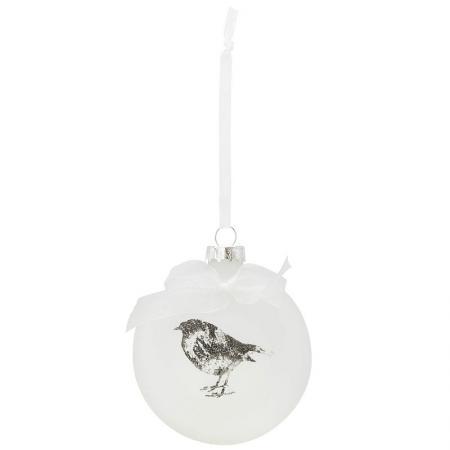 Елочные украшения Winter Wings ШАР ПТИЧКА 7 см 1 шт белый стекло N07970