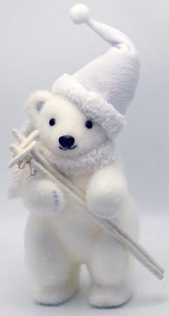 """Украшение Winter Wings """"Мишка в шапке"""" 25 см 1 шт белый полимер цена и фото"""