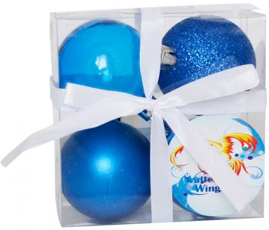 Набор шаров Winter Wings N181097 6 см 4 шт синий пластик набор шаров winter wings новый год 6 см 6 шт синий пластик