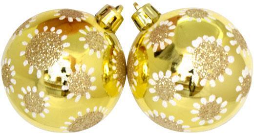 цены Елочные украшения Winter Wings Шар горошины, с блестящей крошкой 6 см 3 шт шампань пластик N181117