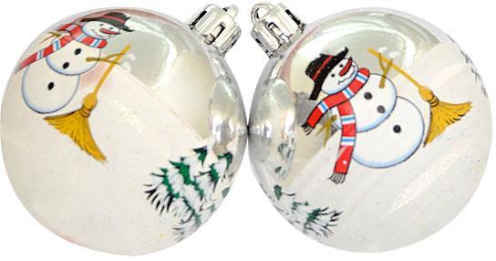 Набор шаров Winter Wings Снеговик блестящий, в связке 6 см 3 шт пластик N181104 автомобильные ароматизаторы cristalinas cristalinas ароматизатор автомобильный с ароматом новогодней ели 3 шт по 6 мл