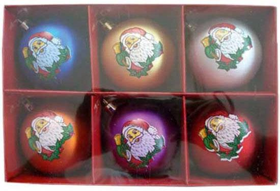 Набор шаров Winter Wings Дед Мороз, с ручной росписью 7 см 6 шт в ассортименте N06470