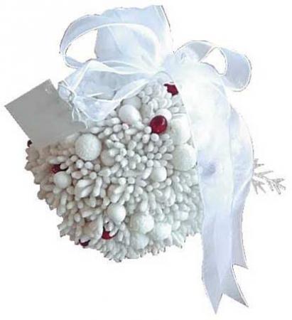 Елочные украшения Winter Wings Шар с ягодками 8 см 1 шт белый полимер N06895 цена 2017