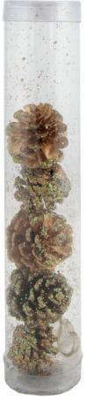 Елочные украшения Winter Wings Шишки еловые с крошкой голограмма 6 см 5 шт коричневый N06646