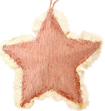 Украшение елочное РОЗОВАЯ ЗВЕЗДА, 1 шт., 10 см, полимерный материал, бумага, в пакете украшение елочное звезда барокко 8 8 см черный золотой 1 шт в пакете