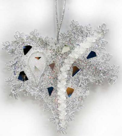 Украшение Winter Wings Клен 13 см 1 шт серебро пластик N069877