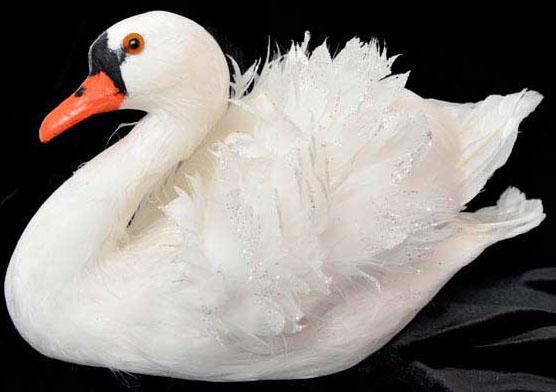 Украшение Winter Wings Лебедь 18х16 см 1 шт белый полимер, перо N180302 декоративное украшение umbra mariposa настенное цвет белый 9 шт