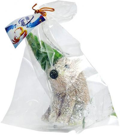 Украшение Winter Wings Мишка в карнавальной шляпе 13 см 1 шт коричневый соломка N181431