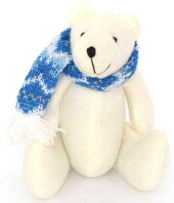 Украшение Winter Wings Мишка в шарфе 12 см 1 шт белый полиэстер N180835