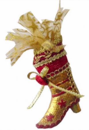 Украшение Winter Wings Сапожок 12 см 1 шт золотой полирезин украшение winter wings ридикюль 10 см 1 шт полирезин 180056