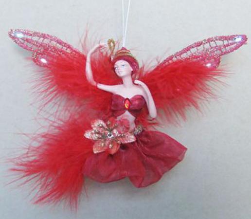 Украшение Winter Wings Фея в красном платье 15 см 1 шт красный полирезин
