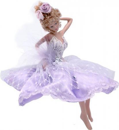 Украшение Winter Wings Фея в лиловом платье 15 см 1 шт лиловый полирезин