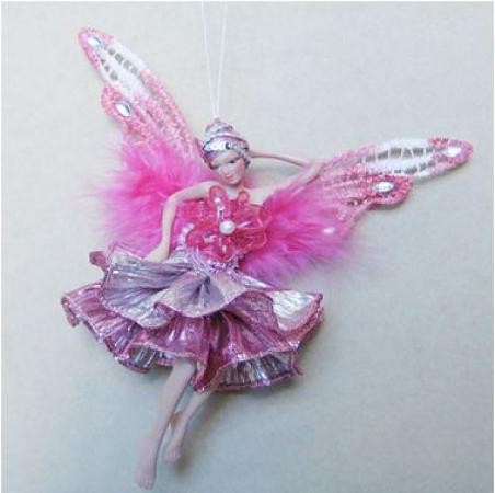 Украшение Winter Wings Фея в розовом платье 15 см 1 шт розовый полирезин