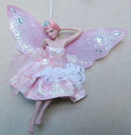 Украшение Winter Wings Фея в светло-розовом платье 15 см 1 шт розовый полирезин