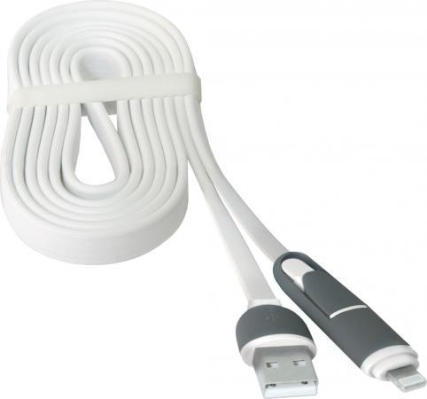 Кабель microUSB 1м Defender USB10-03BP плоский + Lightning 87493 кабель lightning 1м pqi 6zc190701r003a плоский