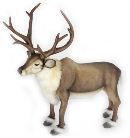 Мягкая игрушка олень Hansa Северный олень стоящий 65 см коричневый искусственный мех синтепон зверь световой неон найт 45 см северный олень ленточкой 513 269