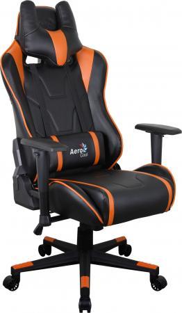 Кресло компьютерное игровое Aerocool AC220 AIR-BO черно-оранжевое с перфорацией 4713105968408 кресло для геймера aerocool ac220 rgb b черное с перфорацией и rgb подсветкой