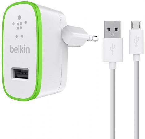 Сетевое зарядное устройство Belkin F8M886vf04-WHT 2.4А microUSB белый сетевое зарядное устройство belkin f8j125vf04 wht 2 4а 8 pin lightning белый