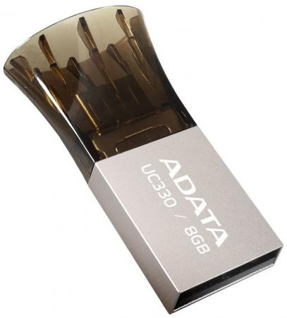 Флешка USB 8Gb A-Data UC330 AUC330-8G-RBK черный серебристый 1pcs right angle 90 degree usb 2 0 a male female adapter connecter for lap pc wholesale drop shipping