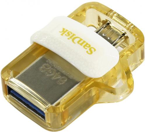 Флешка USB 64Gb SanDisk Ultra Dual SDDD3-064G-G46GW белый золотистый usb flash drive 64gb sandisk ultra android dual drive otg usb 3 0 white gold sddd3 064g g46gw
