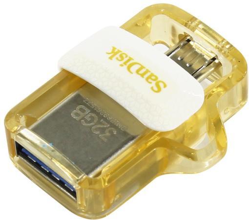 Флешка USB 32Gb SanDisk Ultra SDDD3-032G-G46GW белый золотистый usb накопитель sandisk 32gb ultra android dual drive otg m3 0 usb 3 0 white gold sddd3 032g g46gw