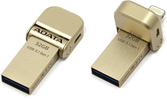 Флешка USB 32Gb A-Data AI920 AAI920-32G-CGD золотистый 1pcs right angle 90 degree usb 2 0 a male female adapter connecter for lap pc wholesale drop shipping