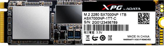 Твердотельный накопитель SSD M.2 1 Tb A-Data XPG SX7000 Read 1750Mb/s Write 850Mb/s 3D NAND TLC твердотельный накопитель ssd m 2 256gb a data xpg sx7000 read 1370mb s write 820mb s pci e asx7000np 256gt c