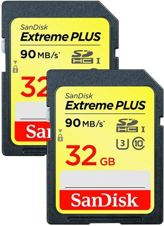 Карта памяти SDHC 32Gb Class 10 Sandisk SDSDXWF-032G-GNCI2 2шт карта памяти 32gb sandisk extreme plus secure digital hc class 10 uhs i u3 2 pack sdsdxwf 032g gnci2