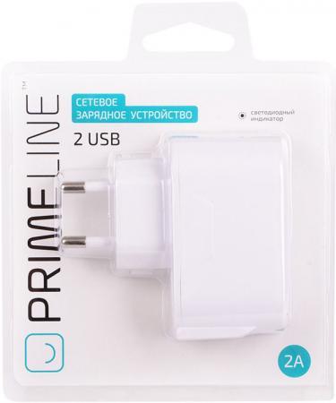 Сетевое зарядное устройство Prime Line 2312 2.1A 2 х USB белый prime line usb miniusb