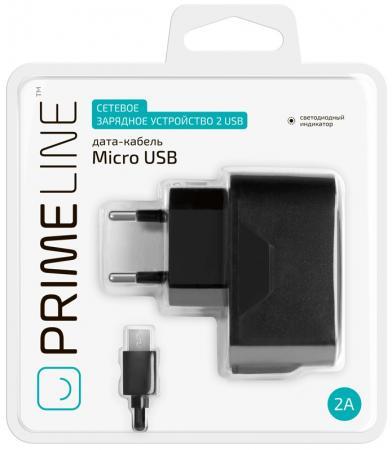 Сетевое зарядное устройство Prime Line 2314 2.1A microUSB черный зарядное устройство prorab striker 480
