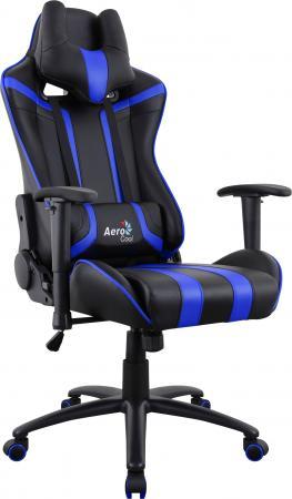 Кресло компьютерное игровое Aerocool AC120 AIR-BB черно-синее с перфорацией 4713105968323 цена