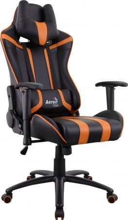 Кресло компьютерное игровое Aerocool AC120 AIR-BO черно-оранжевое с перфорацией 4713105968330 цена
