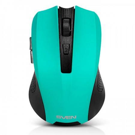 все цены на Мышь беспроводная Sven RX-345 чёрный зелёный USB + радиоканал SV-014193 онлайн