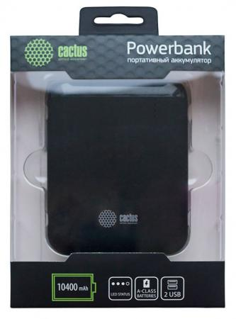 Внешний аккумулятор Power Bank 10400 мАч Cactus CS-PBHTST-10400 черный внешний аккумулятор qumo poweraid 10400 мач черный