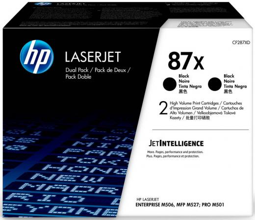 Картридж HP 87X CF287XF для HP Laserjet Enterprise M506 - M527 Pro M501 черный 18000стр двойная упаковка new paper delivery tray assembly output paper tray rm1 6903 000 for hp laserjet hp 1102 1106 p1102 p1102w p1102s printer