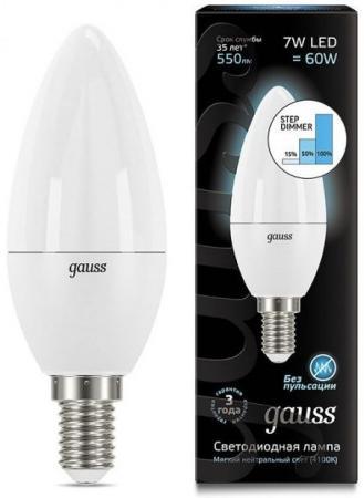 Лампа светодиодная диммируемая E14 7W 4100K свеча матовая 103101207-S