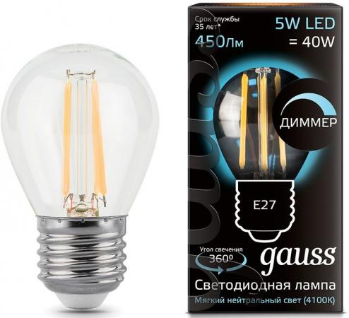 Лампа светодиодная диммируемая филаментная E27 5W 4100К груша прозрачная 105802205-D gigi лосьон пилинг отбеливающий 50 мл