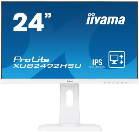 Монитор 23.8 iiYama XUB2492HSU-W1 белый IPS 1920x1080 250 cd/m^2 5 ms HDMI DisplayPort VGA Аудио USB монитор 27 iiyama prolite xb2779qqs s1 серебристый ips 5120x2880 440 cd m^2 4 ms hdmi displayport аудио page 9 page 10 page 6 page 5 page 2