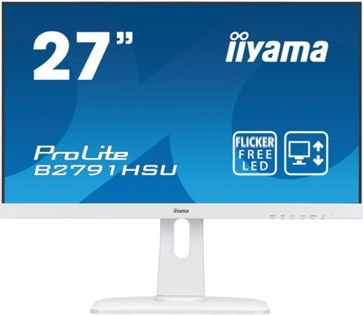 Монитор 27 iiYama ProLite B2791HSU-W1 белый TN 1920x1080 300 cd/m^2 1 ms HDMI DisplayPort VGA Аудио USB B2791HSU-W1 монитор 27 iiyama prolite b2791hsu b1 tn led 1920х1080 1ms dvi hdmi displayport