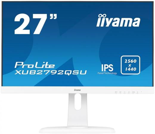 Монитор 27 iiYama XUB2792QSU-W1 белый IPS 2560x1440 350 cd/m^2 5 ms DVI HDMI DisplayPort Аудио USB монитор lg 24ud58 b черный ips 3840x2160 250 cd m^2 5 ms g t g hdmi displayport