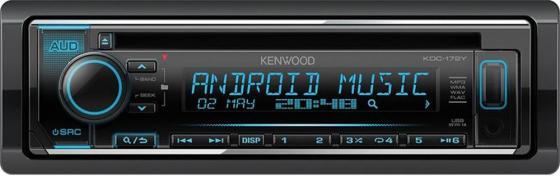 Автомагнитола Kenwood KDC-172Y USB MP3 CD FM RDS 1DIN 4х50Вт черный автомагнитола kenwood kmm 103ay usb mp3 fm 1din 4х50вт черный