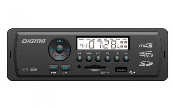 Автомагнитола Digma DCR-100B24 USB MP3 FM 1DIN 4x45Вт черный автомагнитола digma dcr 420r usb mp3 fm 1din 4x45вт черный
