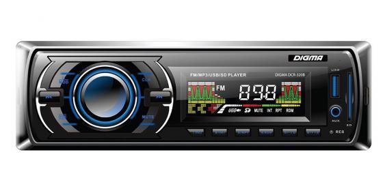 Автомагнитола Digma DCR-320B USB MP3 FM 1DIN 4x45Вт черный автомагнитола digma dcr 300b usb mp3 fm 1din 4x45вт черный