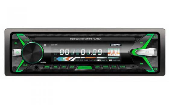 цена Автомагнитола Digma DCR-400G USB MP3 FM 1DIN 4x45Вт черный в интернет-магазинах