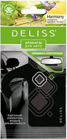DELISS Картонный освежитель воздуха для автомобиля Harmony deliss мембранный освежитель воздуха для автомобиля серии comfort и harmony 2 аромата 4мл