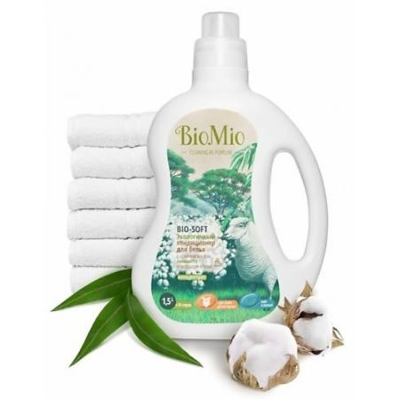BioMio Экологичный кондиционер для белья Bio-Soft Концентрат экологичный с эфирным маслом эвкалипта и экстрактом хлопка 1,5л biomio с экстрактом хлопка 1 5 л