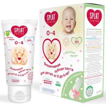 SPLAT Зубная паста для детей 0-3 лет Baby Яблоко-банан 40 мл зубная щетка-напальчник splat зубная паста детская junior сладкий мандарин 73 г