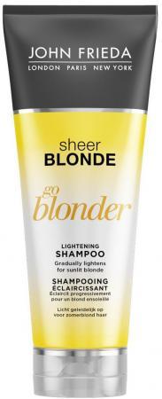 Sheer Blonde Go Blonder Шампунь осветляющий для натуральных, мелированных и окрашенных волос 250 мл john frieda кондиционер осветляющий для натуральных мелированных и окраш волос sheer blonde go blonder 250 мл